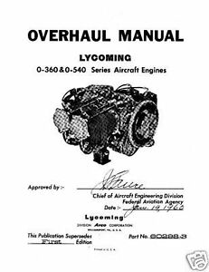 Lycoming O-360 & O-540 Aircraft 60298-3 Engine Overhaul