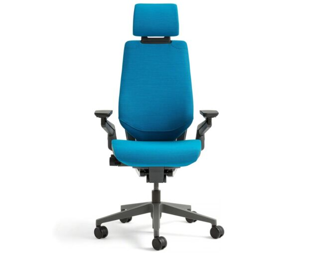 steelcase gesture chair the back store chairs buy with adjustable headrest wrap black new frame blue jay