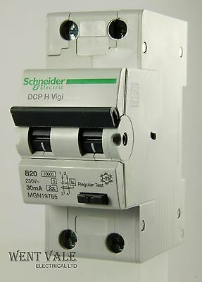 schneider multi 9 mgn19765 dcp h vigi 20a 30ma type b double pole rcbo
