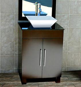 details about 24 bathroom vanity 24 inch cabinet black top vessel sink faucet cms1