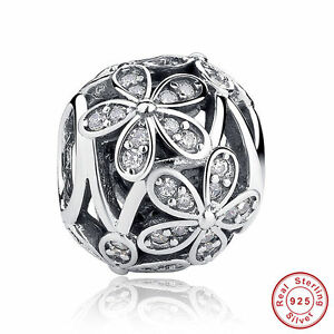Flower Hollow CZ Bead Charm Pendant Sterling Silver 925