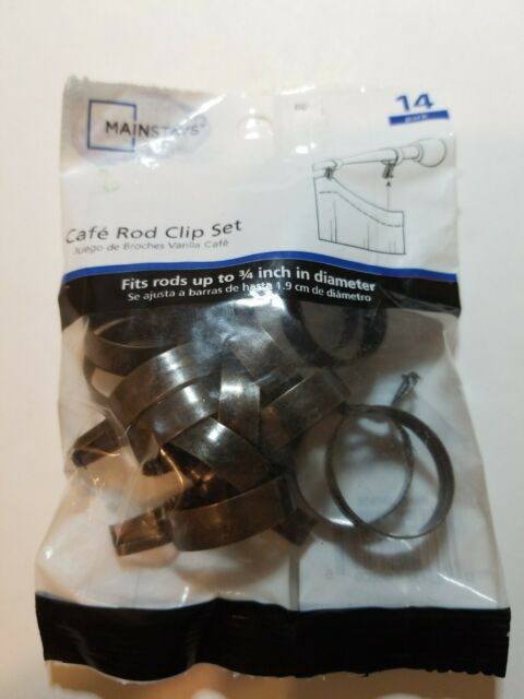 mainstays set of 14 cafe curtain rod clip rings up to 3 4 in diameter