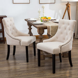 beige dining chairs wedding chair cover hire swansea set of 2 elegant button tufted pattern fabric image is loading