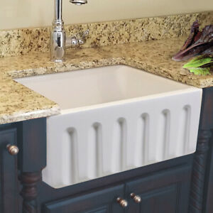 details about 24 inch apron farmhouse fireclay plain fluted single bowl sink white 1st quality