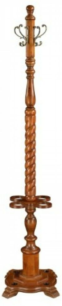Solid Wood Coat Rack Stand Metal Hooks Tree Antique Walnut ...