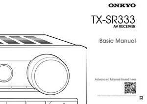 Onkyo Integra TX-SR333 Basic Receiver Owners Instruction