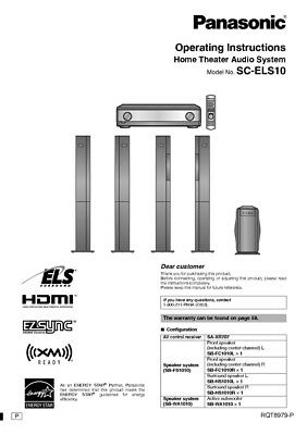 Panasonic SA-ELS10 Home Theater System Owners Instruction