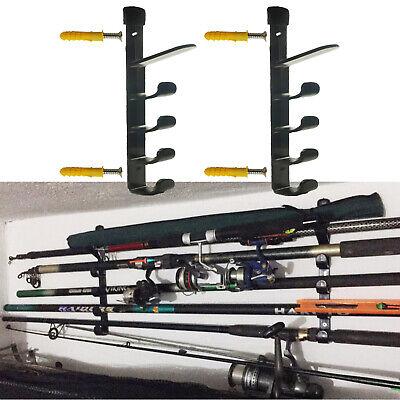 fishing rod pole reel holder garage ceiling mount rods rack organizer storage ebay