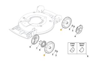 Stiga Multiclip Rental 50 S B Wheel Assembly 381007498/0