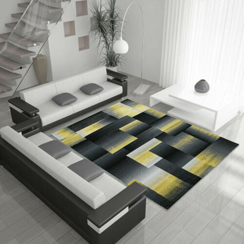 pixel 6560 ocre jaune gris moutarde or tapis sol chambre a coucher large tapis rugs