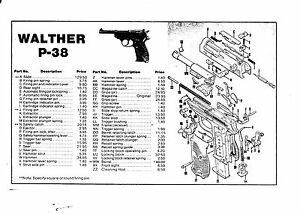 1009 WALTHER P-38 PARTS LIST THIS IS A MUST IF YOU OWN ONE