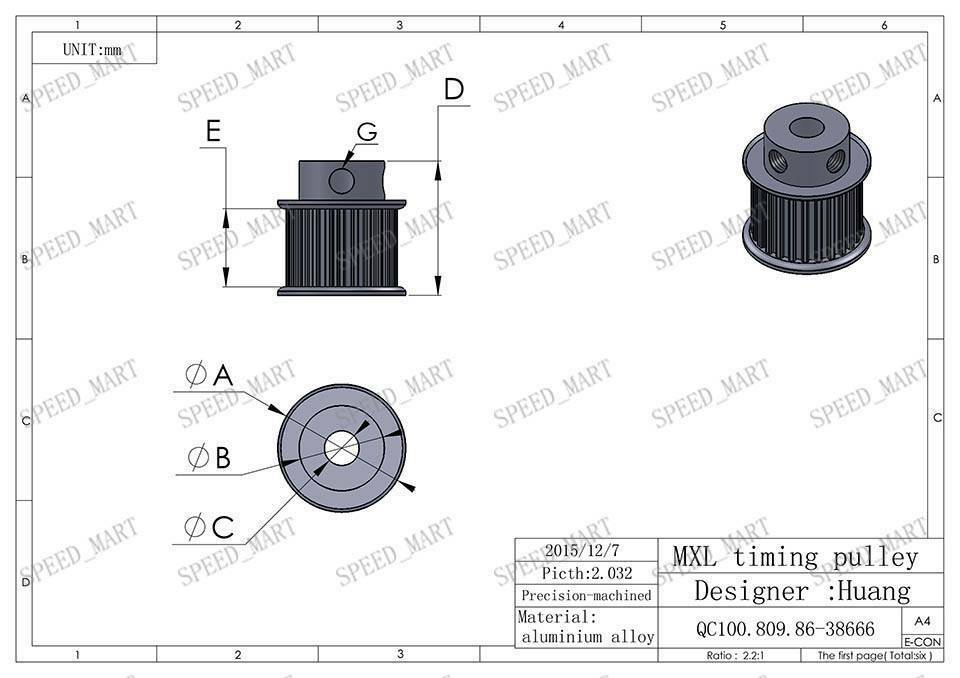 MXL Type Timing Belt Pulley 25 Teeth 7·mm Bore 11mm Width