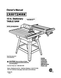 Craftsman 315.248200 Table Saw Owners Instruction Manual