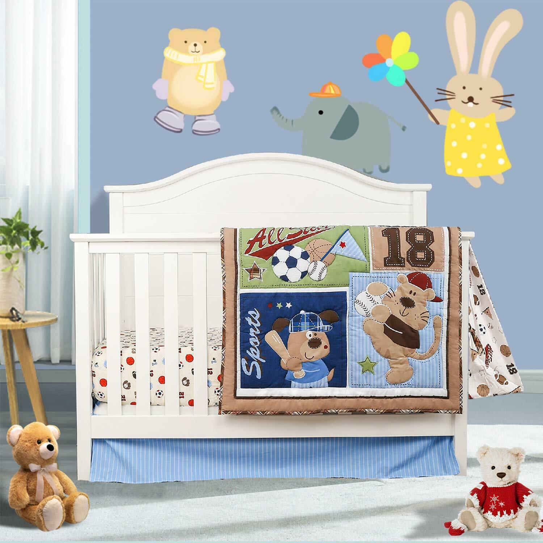 sports crib bedding set 4pcs for boys baby nursery bedding sets with comforter