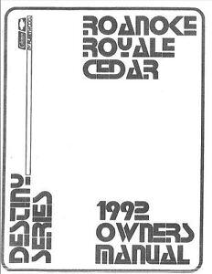 COLEMAN Popup Trailer Owners Manual-1992 Destiny Cedar