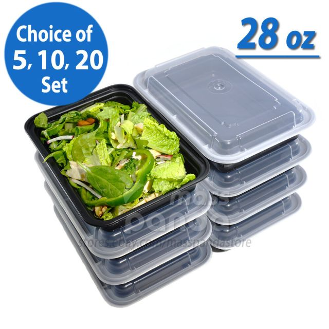 28oz Meal Prep Food Containers with Lids, Reusable Microwavable Plastic BPA free 2