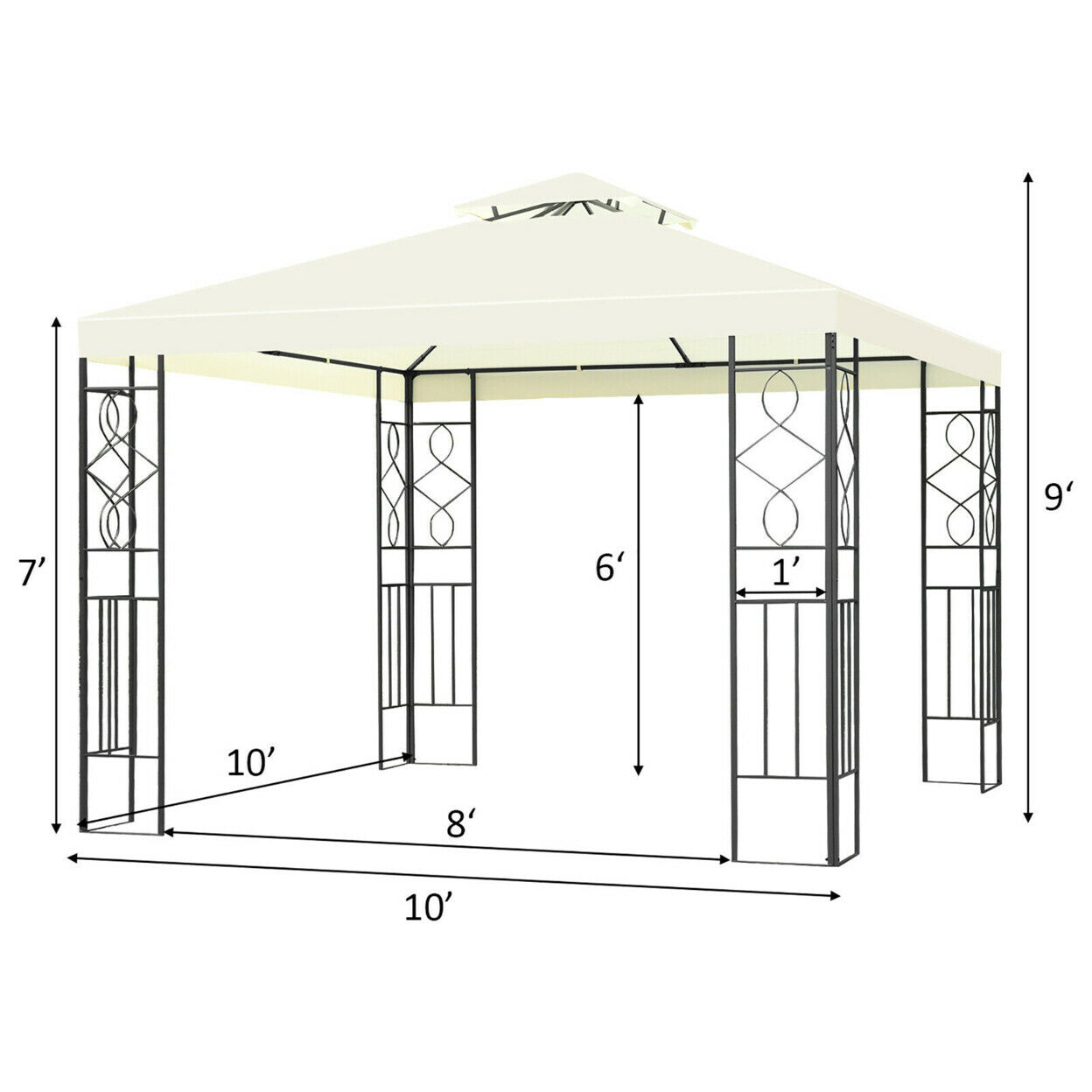 official authorized store Costway Patio Gazebo 10x10ft