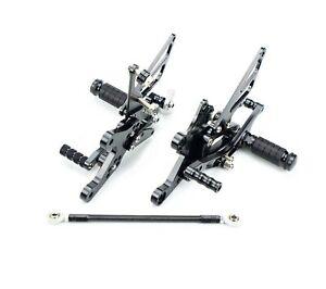 CNC Adjustable Rearset Footrests Rear Sets Black For