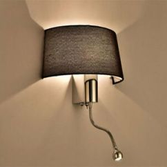 Wall Fixtures For Living Room Framed Pictures Modern Fabric Shade Sconces Led Bedroom Switch Image Is Loading