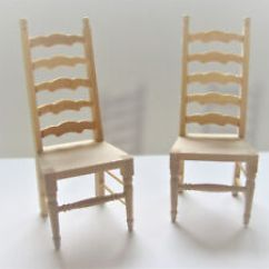 Unfinished Ladder Back Chairs Swing Chair Price Dollhouse Miniature X2 Ladderback 1 12 Scale Image Is Loading