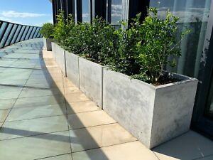 details about concrete planter box large polished patio trough outdoor concrete garden box