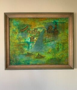 French-Chinese Artist Abstract Oil Painting Signed