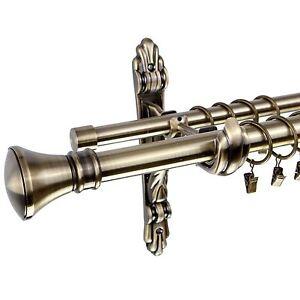 details about metal double curtain pole rail rod set 25 19mm antique brass liberty barocco