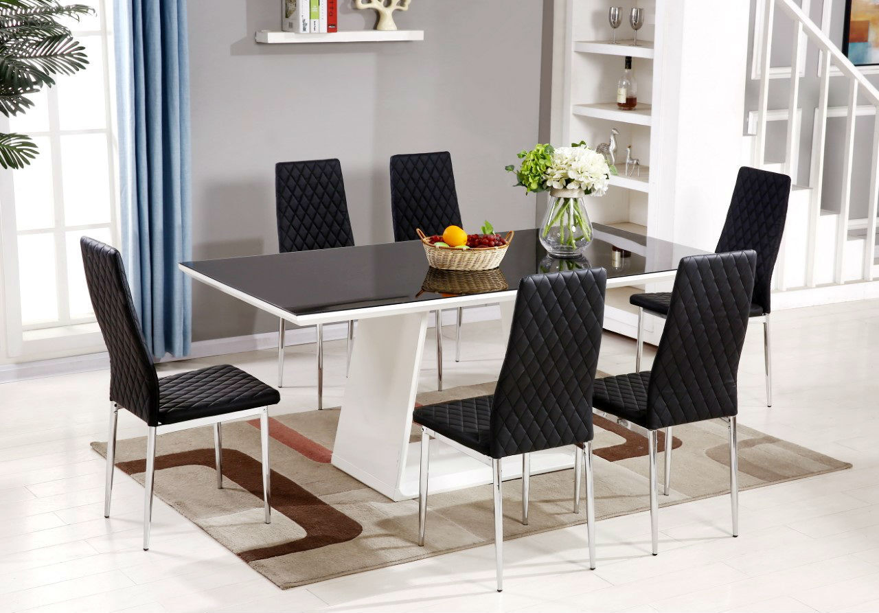 white high gloss dining table 6 chairs rope rocking chair murano black glass set and