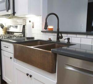 details about copper farmhouse sink kitchen vessel rustic vintage country double bowl apron fr
