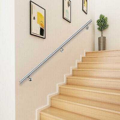 Stair Railing Handrail Stainless Steel Pipe Stairs Grab Stair Rail | Wall Mounted Handrails For Outdoor Steps | Hand Rail | Stainless Steel | Handrail Ideas | Metal Stair | Staircase