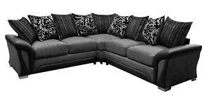 leather and chenille sofa genova indigo shannon corner faux fabric black grey image is loading