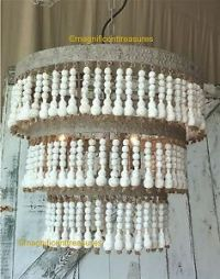 COUNTRY FRENCH WHITE WASH WOOD BEADED METAL CHANDELIER ...