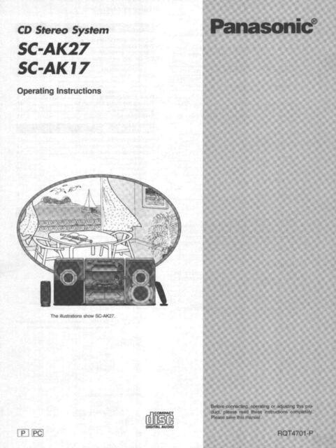 Panasonic SC-AK17 SC-AK27 CD Stereo System Owners