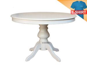 details sur table extensible ronde 110 cm finition laquee structure en bois pied central