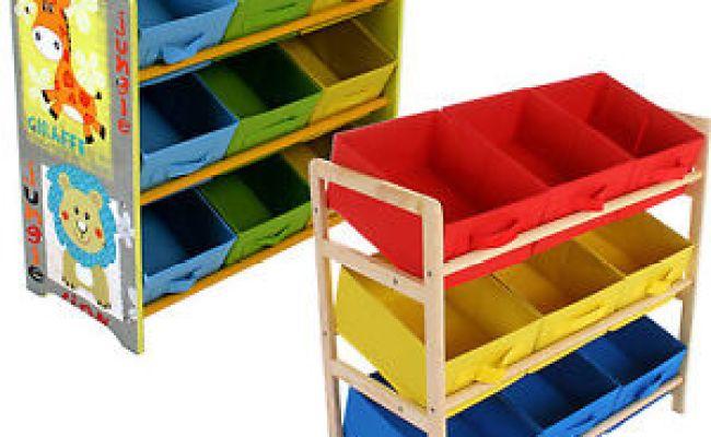 Childrens Toy Storage Unit Kids Shelf 3 Tier 9 Canvas