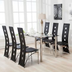 Kitchen Table Sets Aid Bbq Grill 7 Piece Dining Set 6 Chairs Black Glass Top Faxu Leather And Metal Room Breakfast