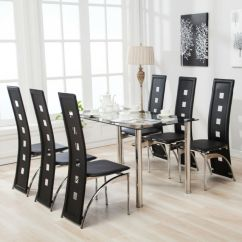 Dining Table Set 6 Chairs Desk Chair Junior 7 Piece Black Glass Top Faxu Leather And Metal Kitchen Room Breakfast