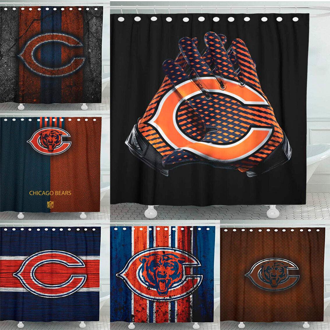 chicago bears fans 72 x 72 waterproof bathroom shower curtain accessory set