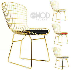 mid century modern wire chair teen desk side golden wireback mesh dining image is loading