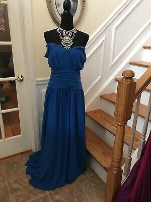 Beautiful Peacock Blue Fluttery gown Bridesmaid Prom Dress Plus Size 24 | eBay