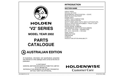 Holden V2 Monaro & HSV Parts Catalogue Info Sheets Vehicle
