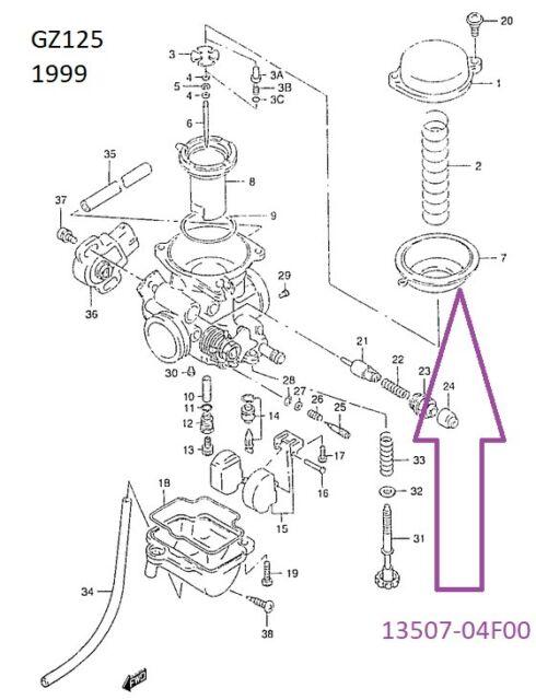 Suzuki GZ125 Carb Diaphragm MARAUDA 1998 NOS XF650