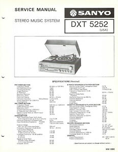 SANYO SERVICE MANUAL for a MODEL DXT5252 STEREO MUSIC