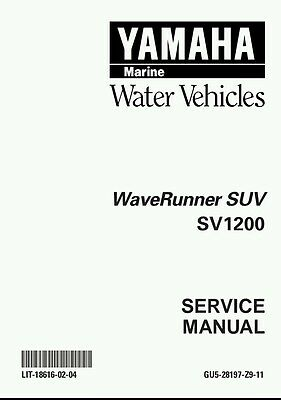 Yamaha XL1200 LTD Waverunner Repair Manual XL 1200 EMAIL
