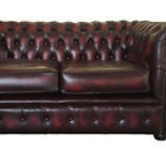 Red Leather Two Seater Sofa Sleeper With Storage Ottoman Chesterfield 100 Pure Oxblood Vintage Image Is Loading