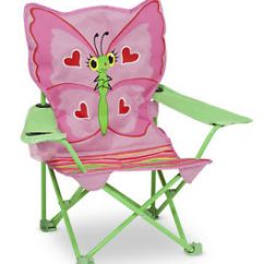 Child Camping Chair Strong Back Review Kid S Children Butterfly Folding Seat Pink Image Is Loading 039