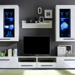 White Furniture Set Living Room Rooms Modern Argus Gloss Led Wall Unit Tv Image Is Loading