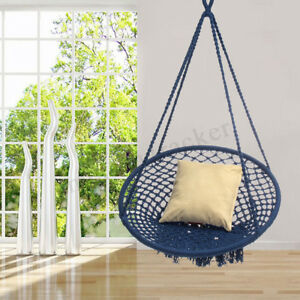 hanging chairs indoor uk swing chair hammock blue macrame hammocks garden outdoor image is loading