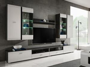 details sur salon moderne ensemble meuble armoire tv unite de espace blanc clif