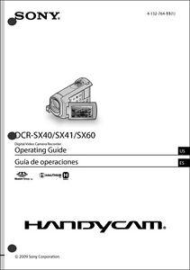 Sony DCR-SX40 DCR-SX41 DCR-SX60 Camcorder Operating Guide